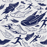 Sportschoenen, Lopende Mensenachtergrond, Seamles-Patroon, Sportpictogram Stock Foto's