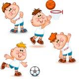Sportschuljungensatz Stockbild