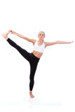 Sportserie: yoga Hand till stora Toe Pose Royaltyfria Bilder