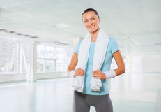 Sportsgirl with white cooton towel Stock Photography