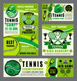 Sportskola av tennisleken med racket och bollen royaltyfri illustrationer