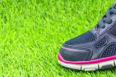 Sportskor på grönt gräs Royaltyfri Fotografi