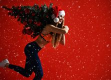 Sportslig kvinna för jultomtenhattjul som rymmer xmas-trädet på hennes skuldror Vinnareenergi honom röd bakgrund Det snöa för ` s arkivfoton