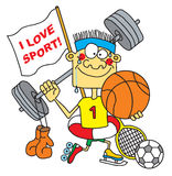 Sportsman. Fun sportsman with sport inventor stock illustration