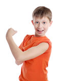 Sportsman. The cheerful boy goes in for sports stock photo