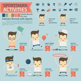 Sportsman activities and calories burned infographics with food. Icon vector Royalty Free Stock Photos