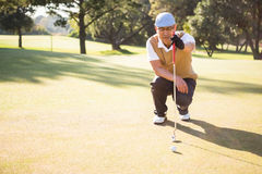 Sportsman analysing the field. On a golf course Stock Photography