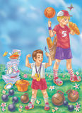 Colorful illustration of two boys with good appetite after sport activity Stock Image