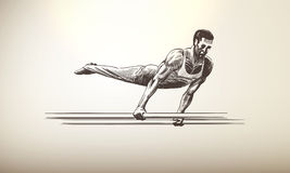 Sportsman, Athlete   Parallel Bars Royalty Free Stock Images