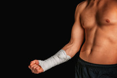 Sportsman with bandaged arm stock photos
