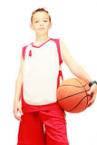 Sportsman with the basketball in the form. Sportsman with basketball ready to play Royalty Free Stock Images