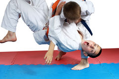 Sportsman with a blue belt doing judo throw Royalty Free Stock Image