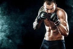 Sportsman boxer fighting on black background. Copy Space. Boxing Royalty Free Stock Images