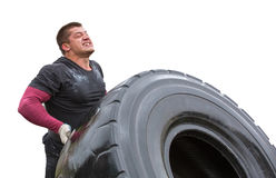 Free Sportsman Can Hardly Lift A Car Tire Stock Images - 95944514