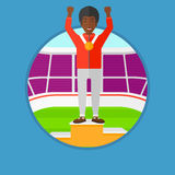 Sportsman celebrating on the winners podium. African-american sportsman celebrating on the winners podium. Man with gold medal and hands raised standing on the Stock Photography