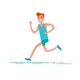 Sportsman character. Young adult man running in sportswear. Concept of running for healthy. Stock Images