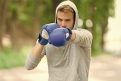Sportsman concentrated training boxing gloves. Athlete concentrated face sport gloves practice fighting skills nature. Background. Attack or defend always be stock photography