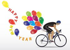 Sportsman cycling with balloons and letter Happy New Year on whi. Te background Stock Photography
