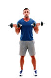 Sportsman doing exercises with dumbbell Stock Photo