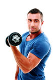 Sportsman doing exercises with dumbbell Stock Image