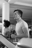 Sportsman exercise jogging on treadmill Stock Photo