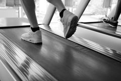Sportsman exercise jogging on treadmill Royalty Free Stock Images