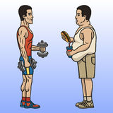 Sportsman and fat man. Lifestyle affects the shape of the human body Stock Image