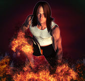 Sportsman with fire effect Stock Images