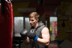 The sportsman in the gym fights.  stock image
