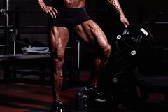 Sportsman in gym. Guy doing exercises. Closeup portrait of legs with veins. Male model with tanned skin. Sexy man Royalty Free Stock Photo