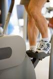 Sportsman in gymnasium. Gymnastics apparatus, to walk, to raise stairs Royalty Free Stock Photo