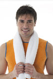 Sportsman Holding Towel Stock Image