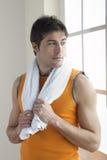 Sportsman Holding Towel Royalty Free Stock Image