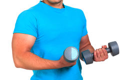 Sportsman holds barbells Royalty Free Stock Image