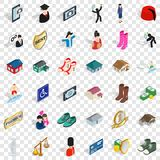 Sportsman icons set, isometric style. Sportsman icons set. Isometric style of 36 sportsman vector icons for web for any design royalty free illustration