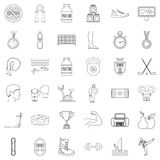 Sportsman icons set, outline style Royalty Free Stock Images