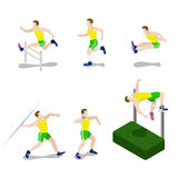 Sportsman male exercise athlete outdoor flat 3d isometric vector. Flat 3d isometric style sportsman male sport concept web infographics vector illustration icon Stock Image