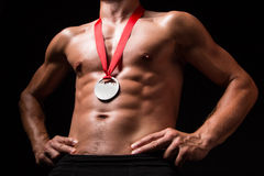 Sportsman with medal on his chest Royalty Free Stock Photography