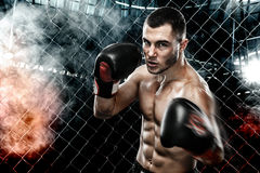 Sportsman muay thai boxer fighting in boxing cage. Background with lights and smoke. Copy Space. Sport concept. Royalty Free Stock Photography