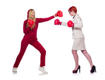 The sportsman and nun boxing on white Stock Photo