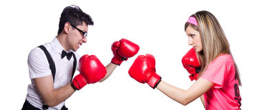 Sportsman and office employee kickboxing isolated Royalty Free Stock Images