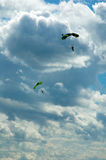 The sportsman the parachuter. During descent to a parachute Royalty Free Stock Photo