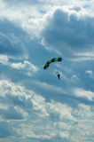 The sportsman the parachuter. During descent to a parachute Royalty Free Stock Photography