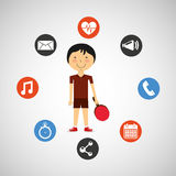 Sportsman ping pong apps icons Royalty Free Stock Photo