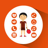 Sportsman ping pong apps icons Royalty Free Stock Photos