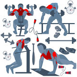 Sportsman pumping muscles fitness club Royalty Free Stock Photography