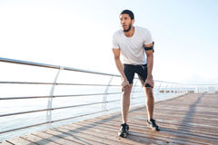 Sportsman is ready to run outdoors in the morning Royalty Free Stock Photos