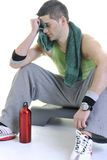 Sportsman Relaxing And Drinking Water Royalty Free Stock Photography