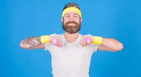 Sportsman retro outfit training blue background. Athlete on way to strong body. Healthy habits. Athlete amateur workout stock images