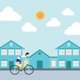 The sportsman is riding a bicycle in town Royalty Free Stock Image